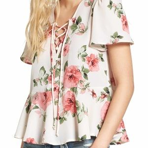 Nordstrom Mimi chica floral lace up blouse